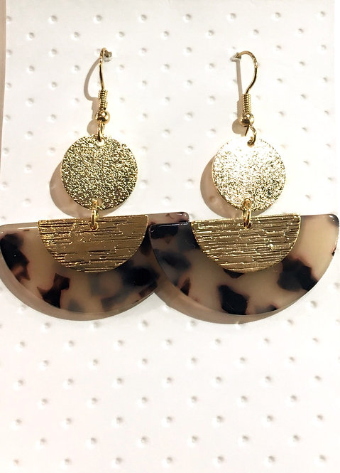 Pair of fan-shaped tortoise shell earrings with round gold disk at top & gold ear wires