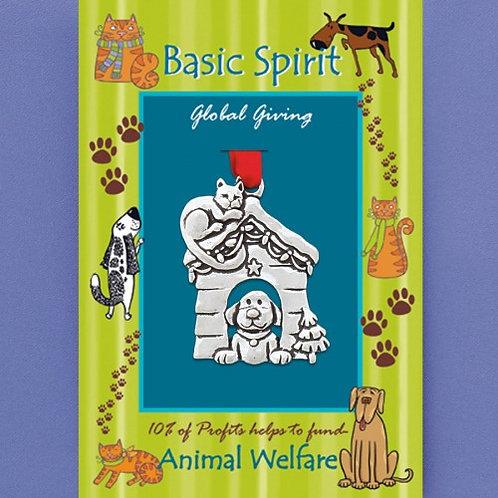 Basic Spirit Pewter Dog House Global Giving Ornament