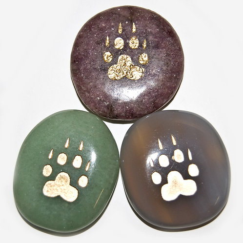 3 Nature's Expression totem animal stones-wolf paw