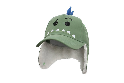 Green Dino 3D Winter Cap with sherpa-lined earflaps turned down