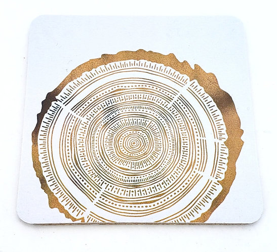 Tree-Free Greetings golden tree rings coasters