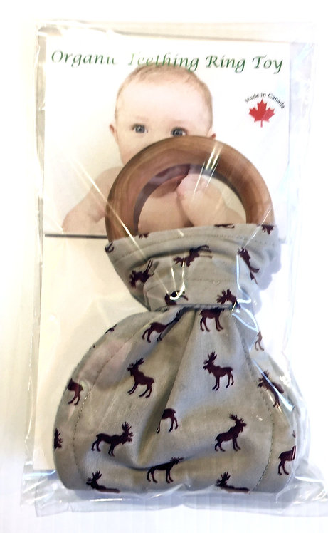 Wooden Teething Ring-gray-dark red moose print fabric tied on in shape of Bunny Ears
