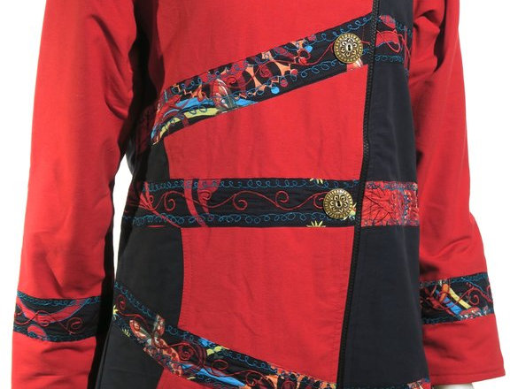 Front view of red & black knee length cholo with off-center button front & patches of bright color prints