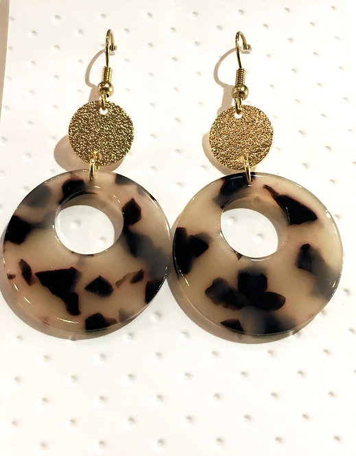 Pair of donut-shaped tortoise shell earrings with round gold disk at top & gold ear wires