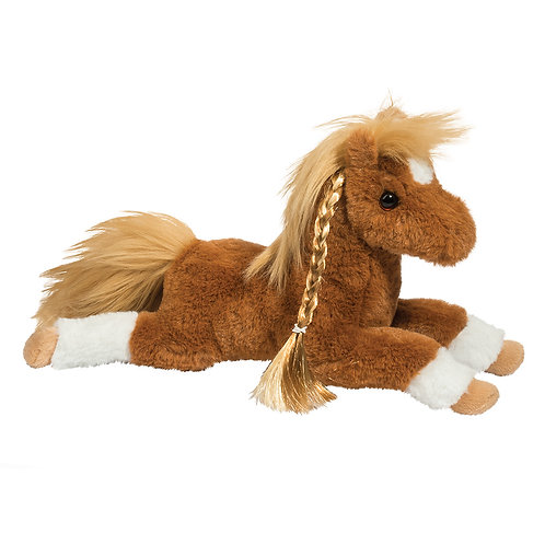Brown, gold & white stuffed plush horse toy with long braided mane
