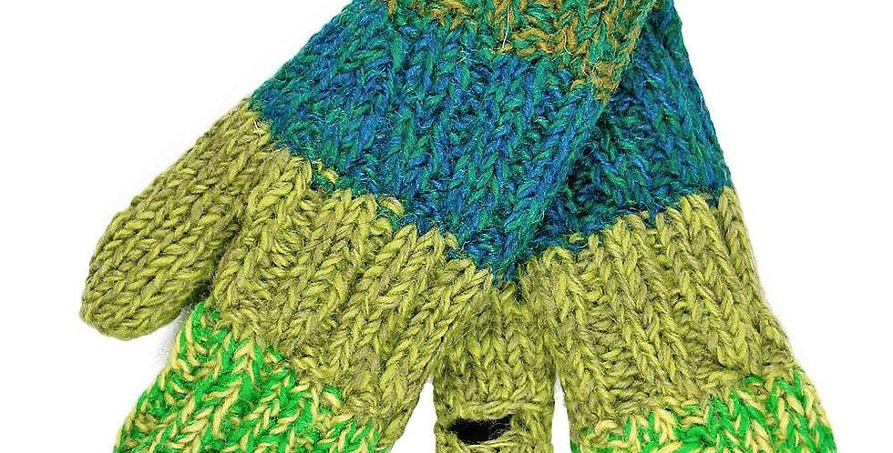 Rib knit wool mitts-4 wide horizontal stripes of varying shades of green