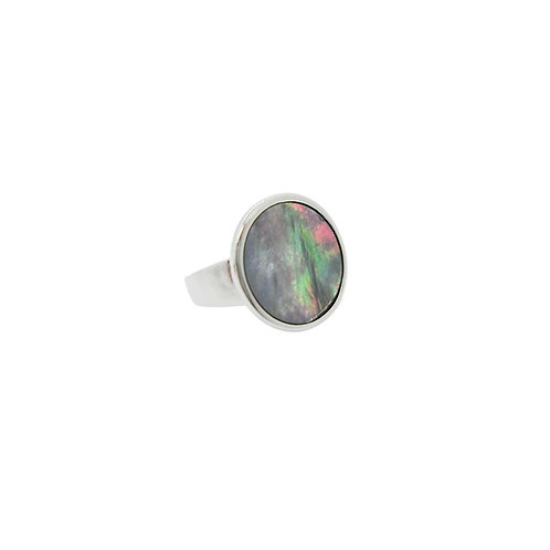 Silver metal ring with round abalone shell inlay