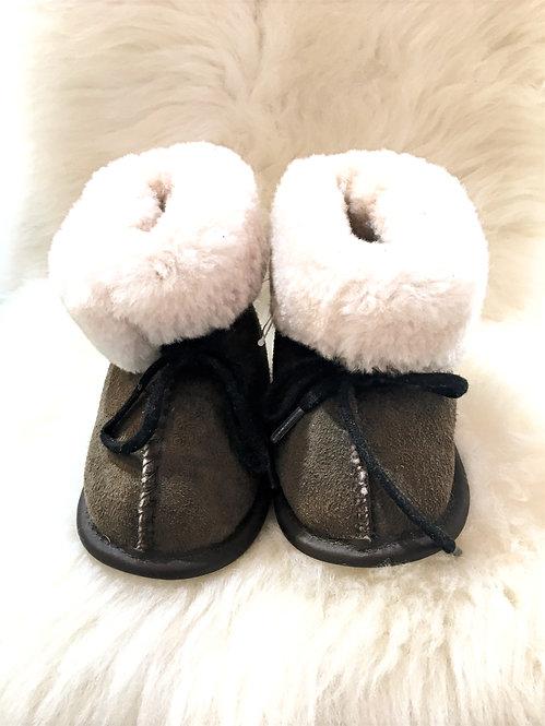Toddler Sheepskin Slippers - Brown