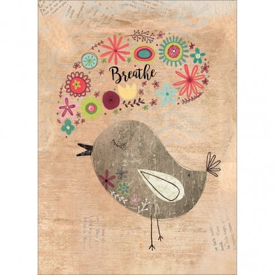 Tree-free Greetings Good Morning All Occasion Card whimsical bird, brown background, speech bubble of flowers says breathe