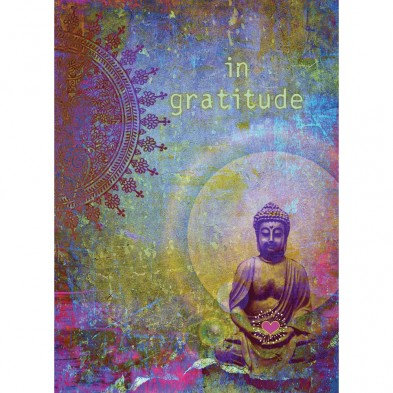 Tree-free Greetings Gratitude Buddha Card front seated buddha, purples and golds