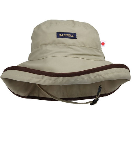 Tan colored sun hat with brown trim around brim, chin strap