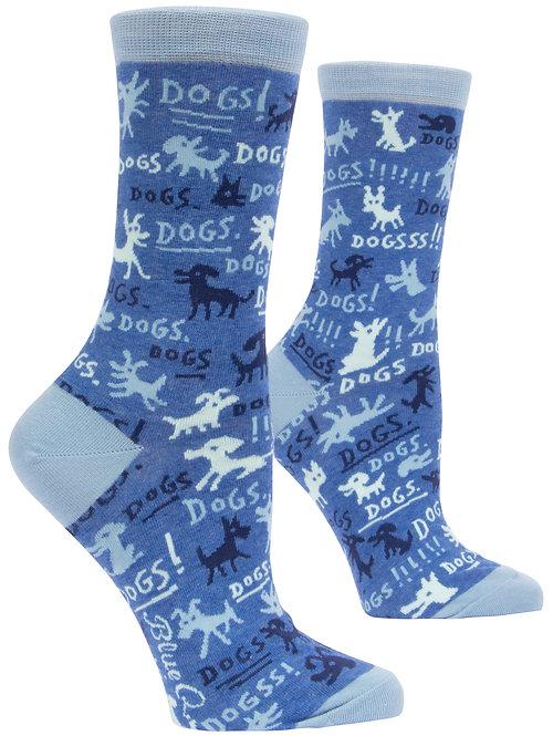 Blue Q Dogs! Crew Socks side view
