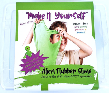 Top view of clear plastic box with label describing contents of slime kit and a boy playing with green slime