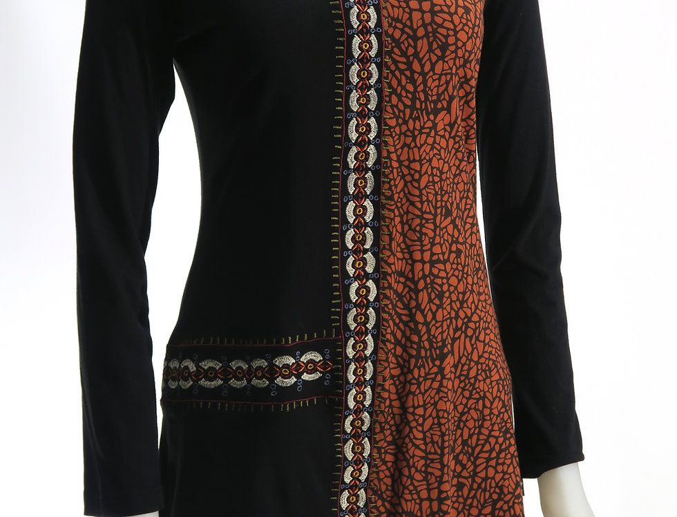 Long sleeve-mid calf length tunic - round neck, right half solid black, left half rust & black print, embroidered piping
