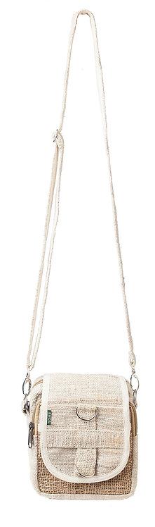 Full view-Ark Fair Trade hemp mini purse-long adjustable detachable shoulder strap-2 zipper pockets-fold-over flap natural