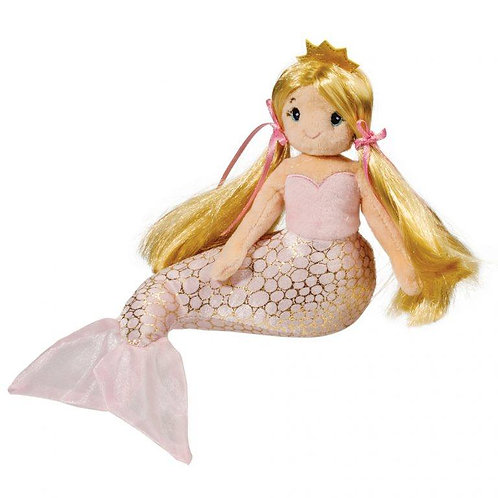 plush mermaid doll-long blond hair in 2 pigtails-pink bodice & silver & pink body & tail