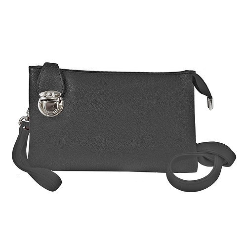 Black pebbled-finish small rectangular purse with latch at side, long shoulder strap and wrist strap