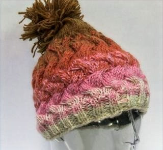 Beige, pink & taupe wool toque with pompom, knit in wavy cable pattern