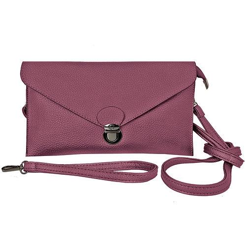 Rectangular bordeau purse with envelope-style flap & metal latch, detachable wrist & shoulder straps