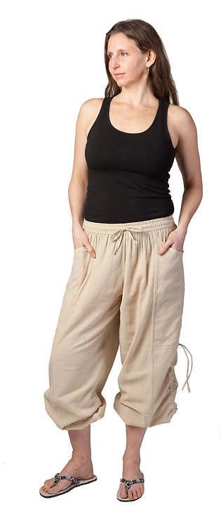 Ark Fair Trade Solid Sinch Pants, drawstring waist, loose leg, sinch tie, natural cotton colour