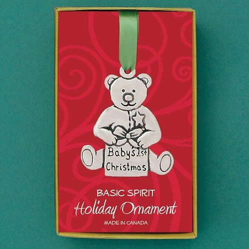 Basic Spirit Pewter Teddy Baby's First Ornament