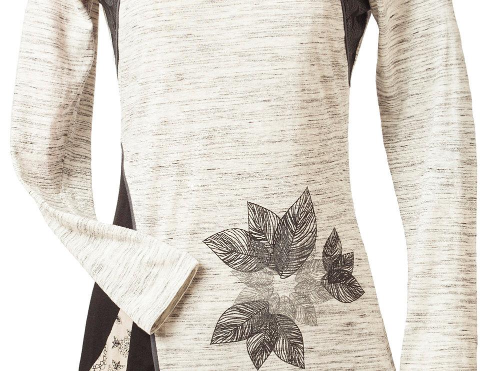 Front view-white round neck long sleeve tunic gray piping diagonal designlotus print left hip
