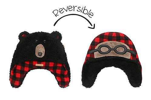 Black & lumberjack plaid reversible fleece/sherpa hats-aviator glasses on fleece side