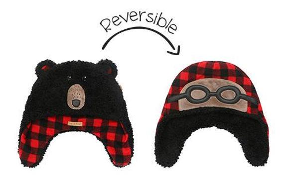 Black Bear Aviator Reversible Sherpa Hat