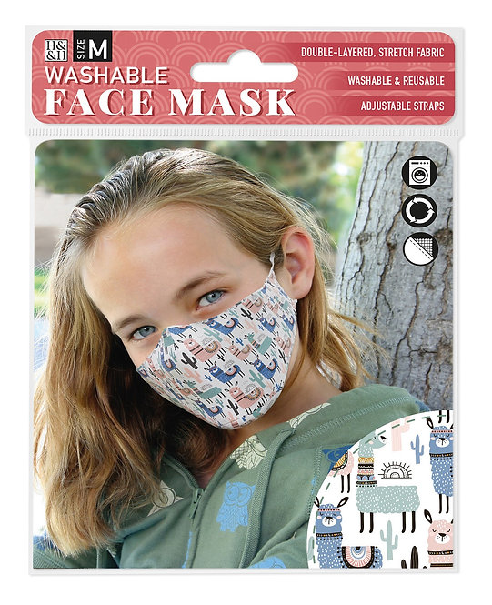 Packaging showing model wearing white mask with blue, pink & green llama, cactus & suns print