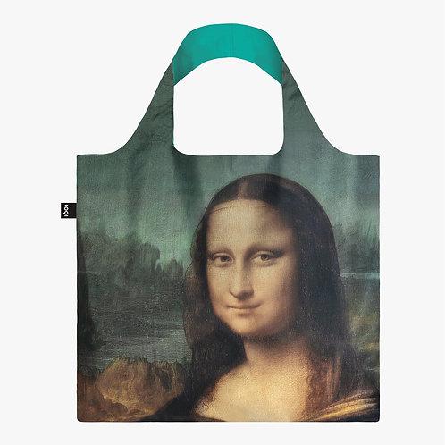 Wide handled cloth shopping bag with reproduction of da Vinci's Mona Lisa