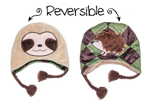 Flapjack Kids Reversible Hat - Sloth / Hedgehog close up
