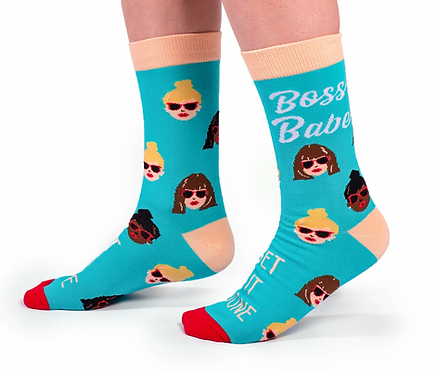 Left view of feet wearing blue socks with cream & brown images of women's heads-Print on Socks 'Boss Babe' & 'Get it Done'