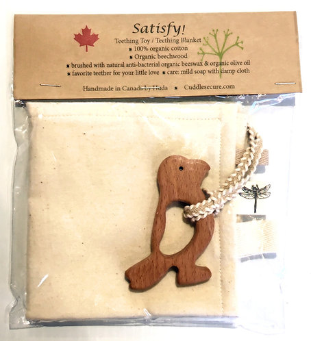 Unbleached cotton baby's security blanket in clear plastic sleeve with bird shaped wooden teething toy attached