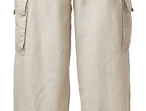 Solid natural drawstring pant with cargo pockets