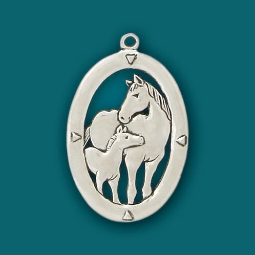 Basic Spirit Pewter Mare & Foal Ornament