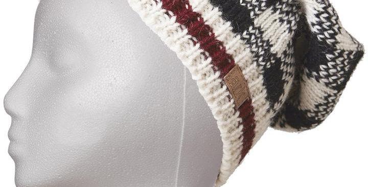 Wool knit slouch hat-black & white check pattern