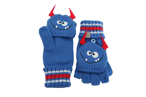 Blue knit fingerless gloves with mitten flap over fingers & monster face with horns on backs