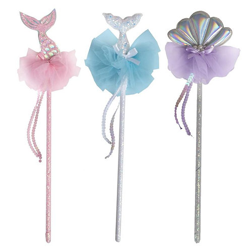 3 sparkly Mermaid Wands in pink & light blue with sequinned mermaid tails and lilac topped with a silver shell