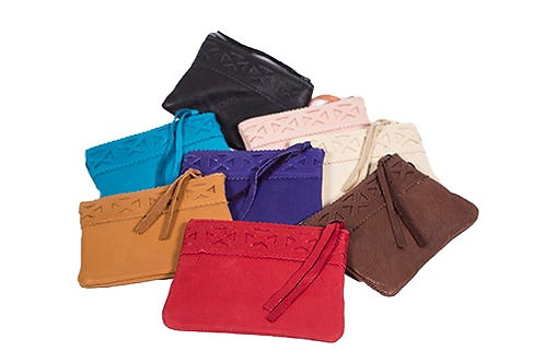 Group of 8 colours of small leather coin purses with zipper top, leather strip zipper pull and braided leather trim