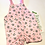 Handmade reversible baby sized overall shorts with black and white pandas on pink background print