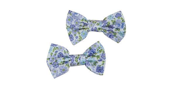2 blue floral print fabric bow hair clips