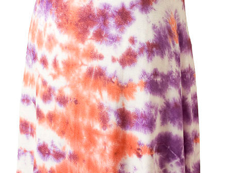 Savannah Maxi Dress sleeveless round neck floor length shift tie-dyed orange and purple on white
