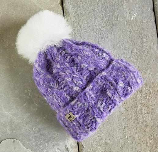 Peruvian Link Alpaca Hat - Marshmallow Trenza lavender
