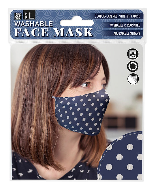 Packaging showing model wearing navy mask with white polka dot print