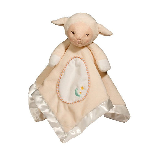 Soft square satin-bound blanket with stuffed head & legs sewn into the center to form a lamb doll