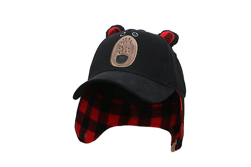 Front view of Black Bear 3D Winter Cap with fleece-lined earflaps down