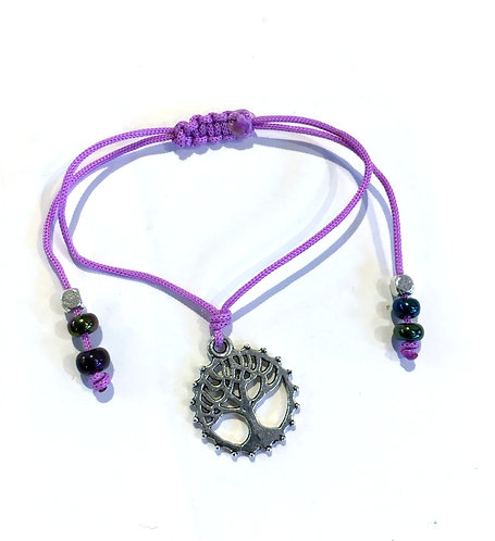 metal tree of life charm bracelet on knotted adjustable lilac cord with purple & silver beads at ends