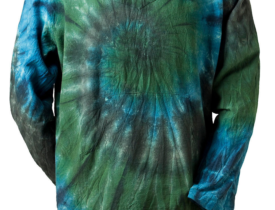 long sleeve pullover cotton shirt-drawstring hood-tie-dye-large swirl pattern-blue & green