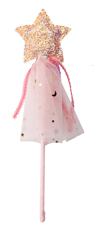 Pink wand with star top & pink tulle