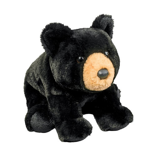 Black baby bear stuffed toy with tan snout